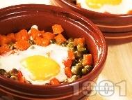 Постни гювечета с тиква, грах, сирене, кашкавал и яйца на фурна